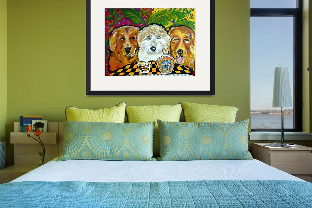 """3 Dogs Labradoodle Golden Retriever Crown Royal&quot  (2002) by reniebritenbucher"