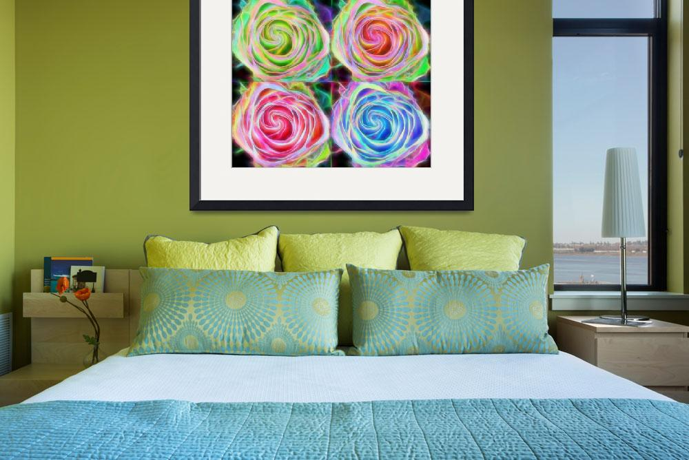 """Four Colorful Electrify Roses&quot  (2015) by lightningman"