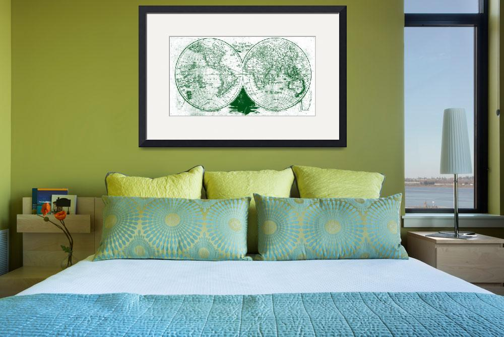 """World Map (1811) White & Green&quot  by Alleycatshirts"