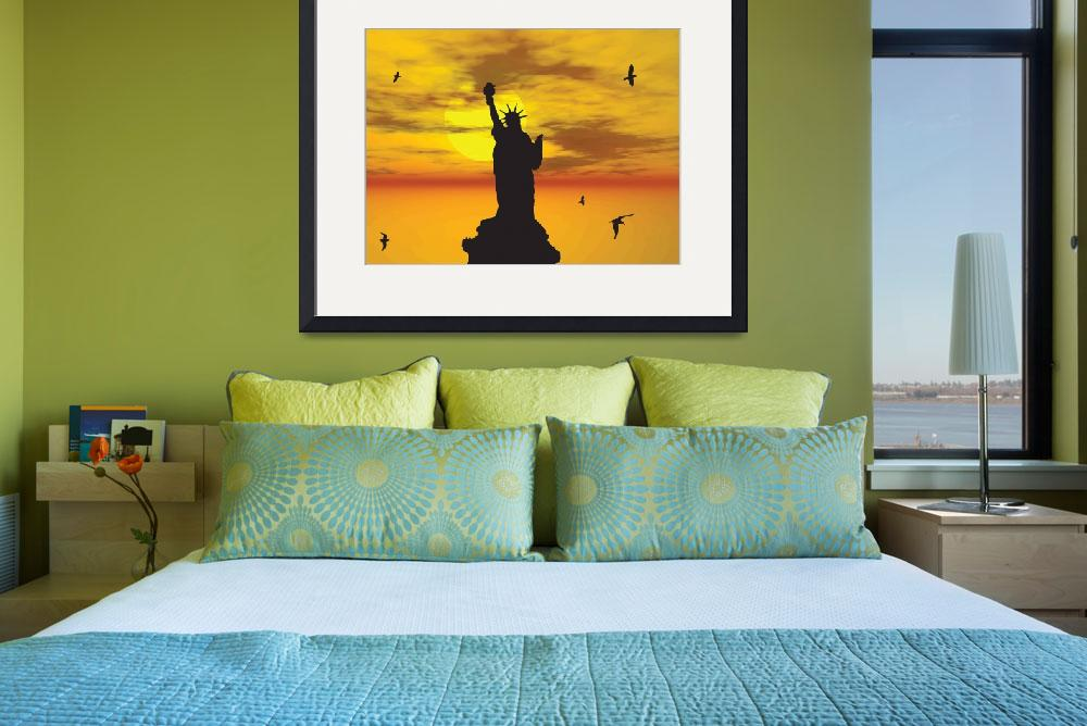 """Statue of Liberty Silhouette against the Sunset Il&quot  (2013) by New-Yorkled"