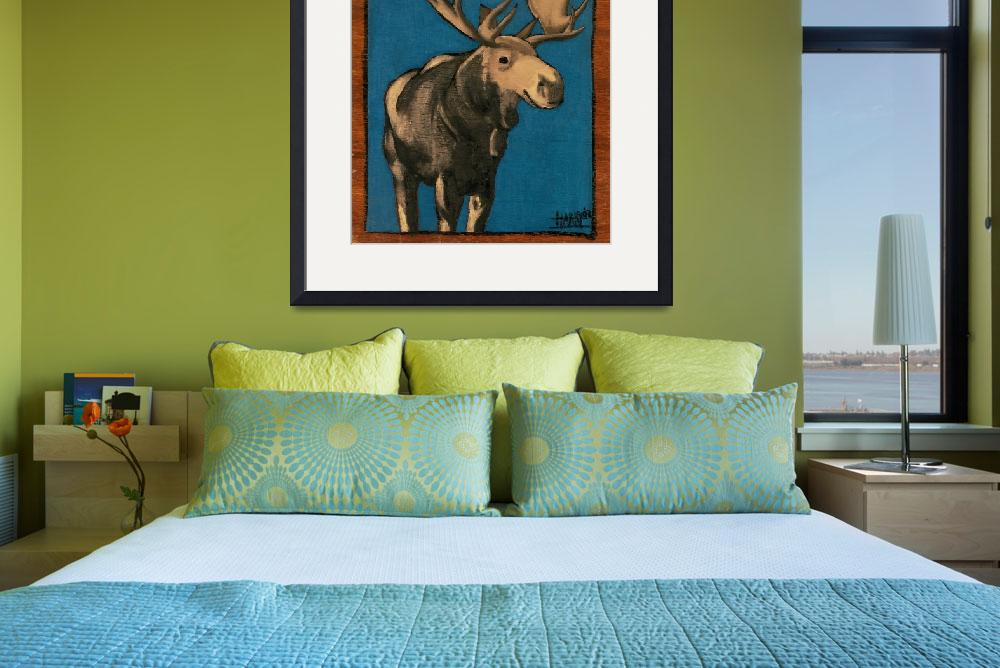 """Moose on Blue 12_75 x 11_5&quot  by harryboardman"