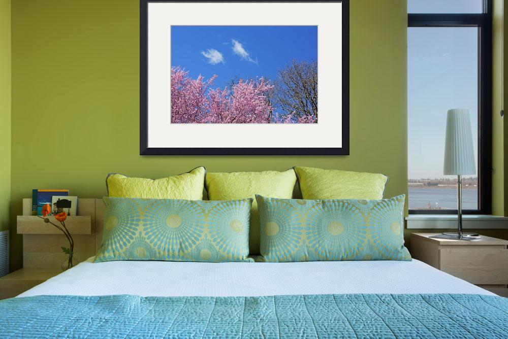 """Spring Trees Art Prints Blue Sky White Clouds&quot  (2014) by BasleeTroutman"