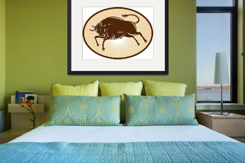 """Texas Longhorn Bull attacking&quot  (2013) by patrimonio"