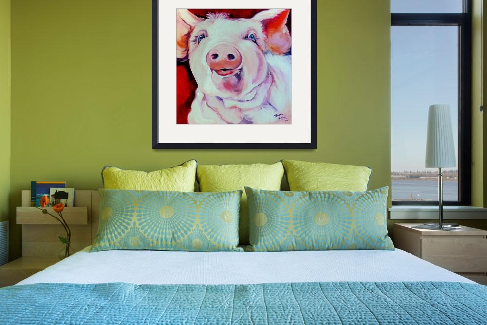 """MOLLY the PINK PIG&quot  (2008) by MBaldwinFineArt2006"