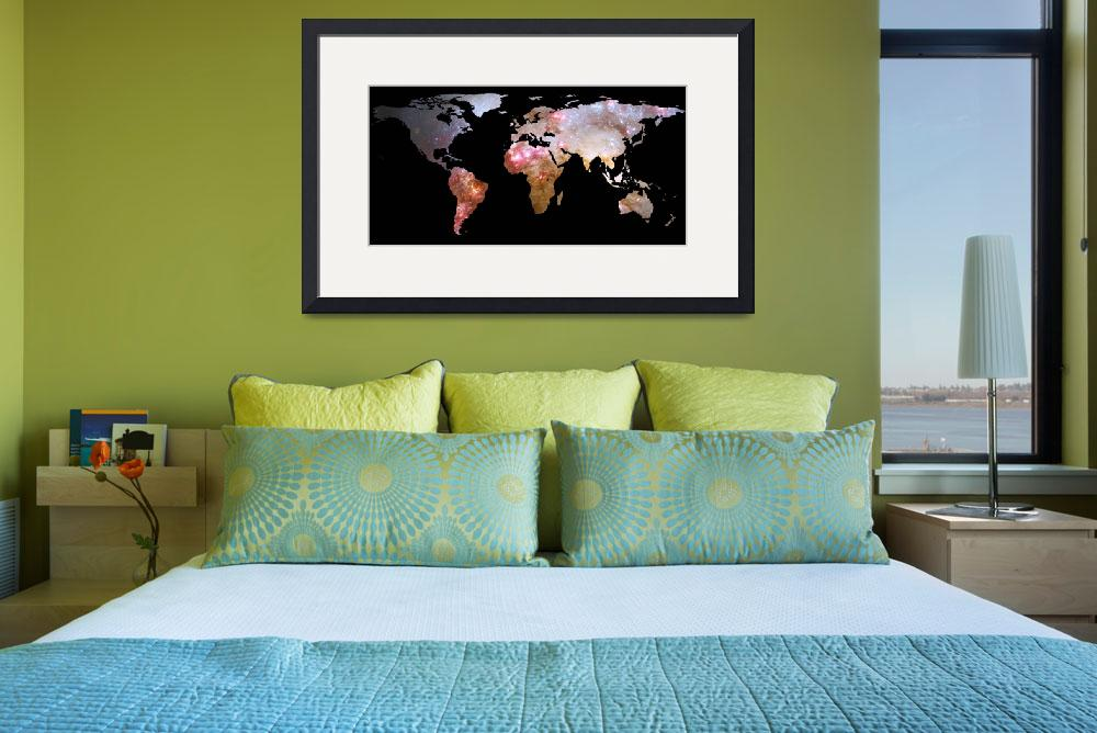 """World Map Silhouette - Galaxy&quot  by Alleycatshirts"