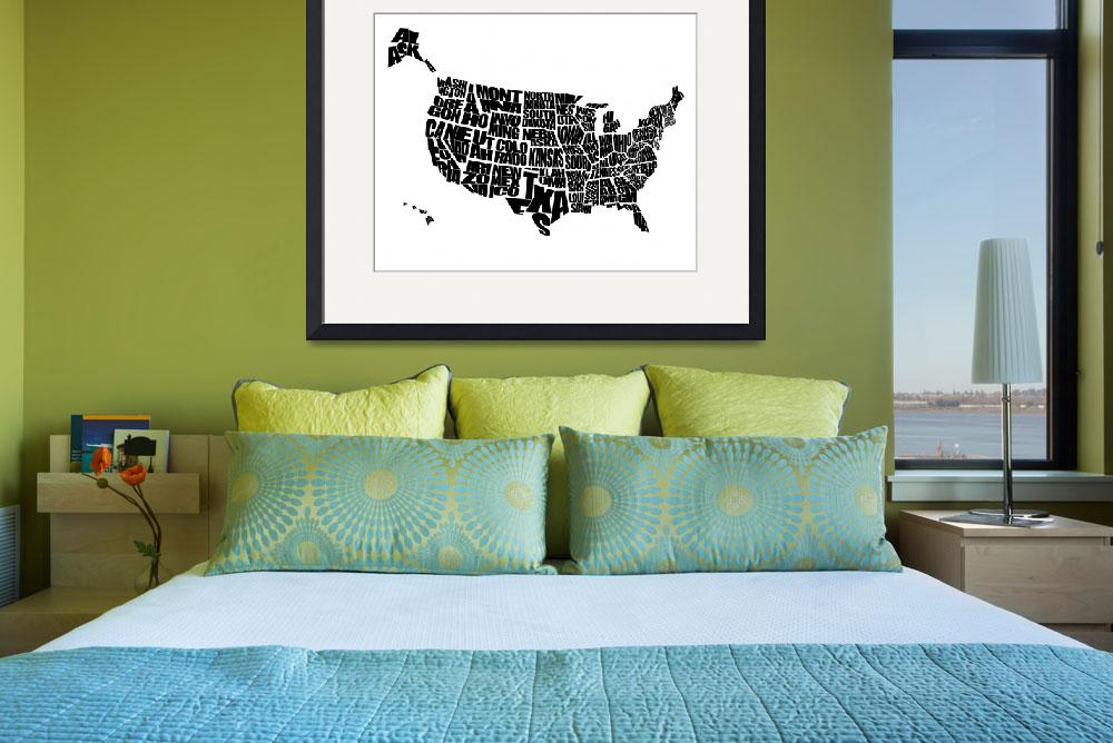 """USA Text Map - Black on White&quot  (2012) by inkofme"