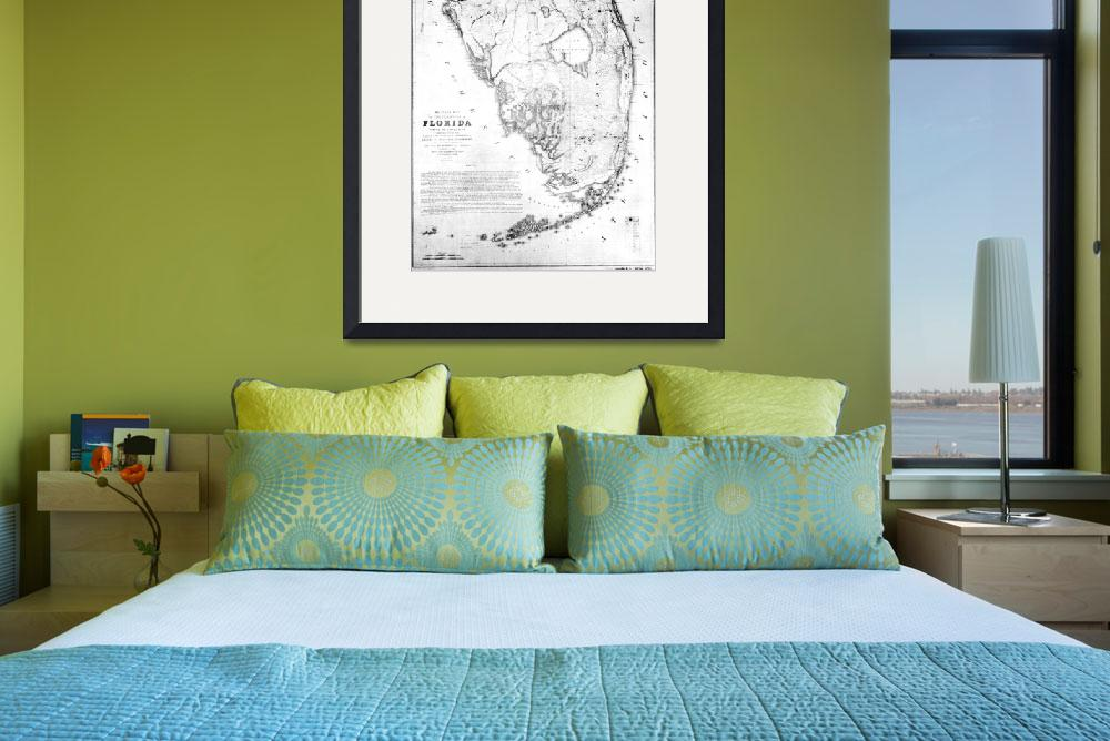 """Vintage Map of Southern Florida (1856)&quot  by Alleycatshirts"