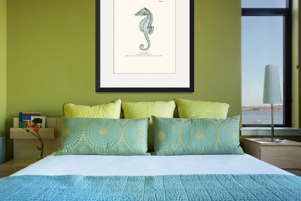 """Vintage sea horse engraving poster&quot  (2012) by Lebonvintage"