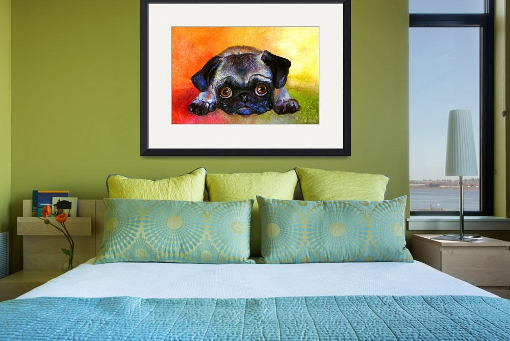 """Cute Pug dog portrait painting print&quot  by SvetlanaNovikova"