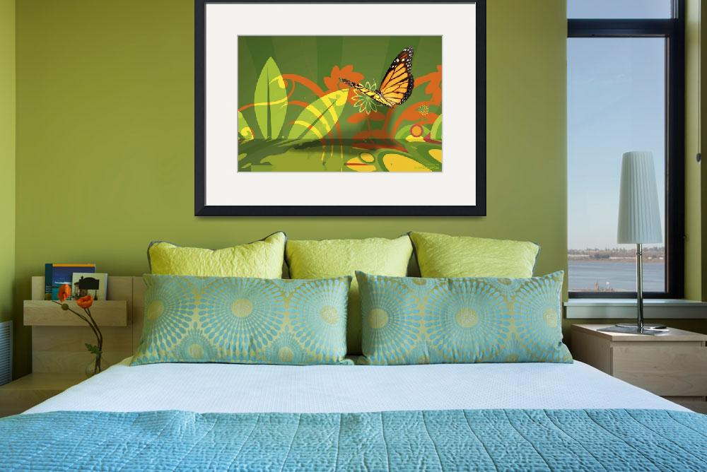 """Wallflowers and Butterfly Abstract&quot  (2011) by WallArtDeco"