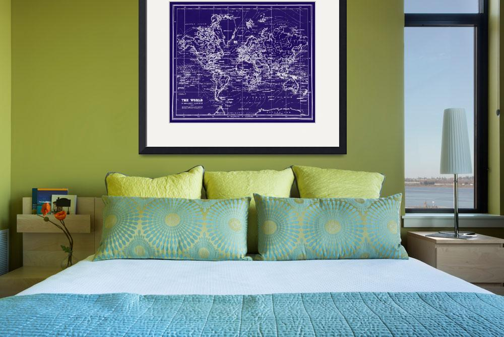 """World Map (1899) Blue & White&quot  by Alleycatshirts"
