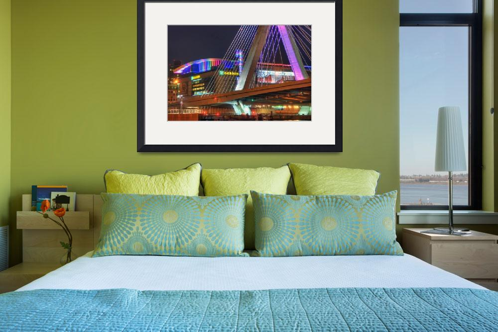 """TD Garden and the Zakim Bridge - Boston Cityscape&quot  (2014) by BostonArt"