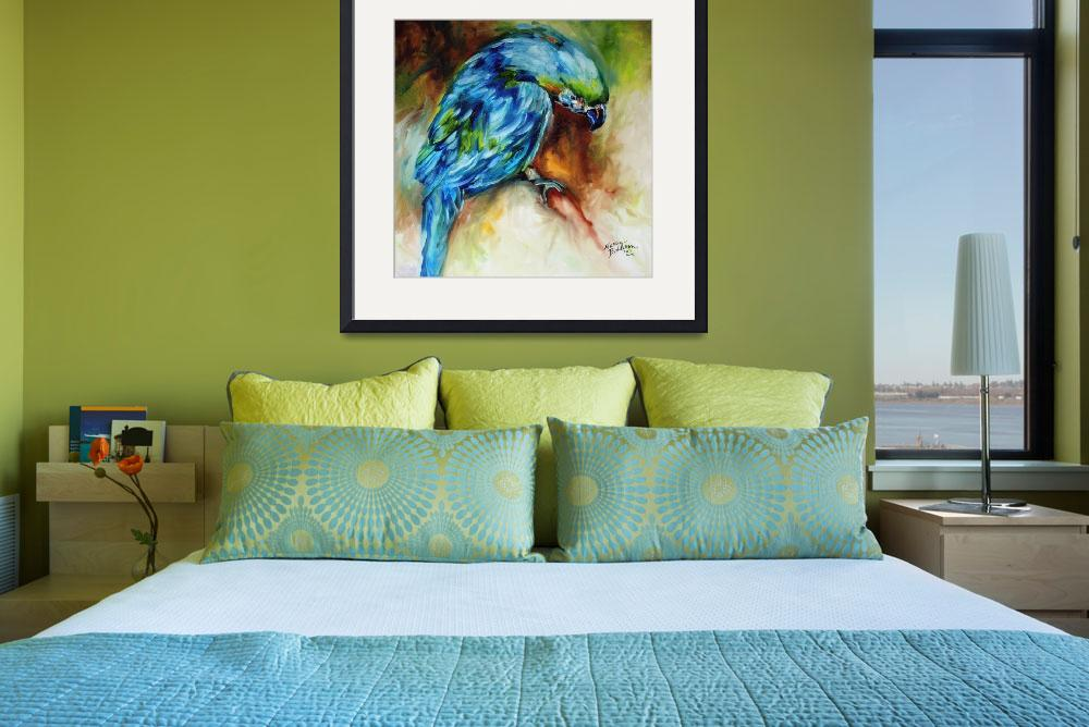 """AZURE BLUE PARROT ABSTRACT&quot  (2011) by MBaldwinFineArt2006"