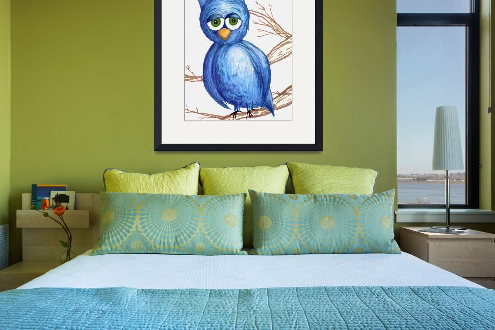 """Sleepy Blue Owl&quot  (2011) by rachaeledmonds"