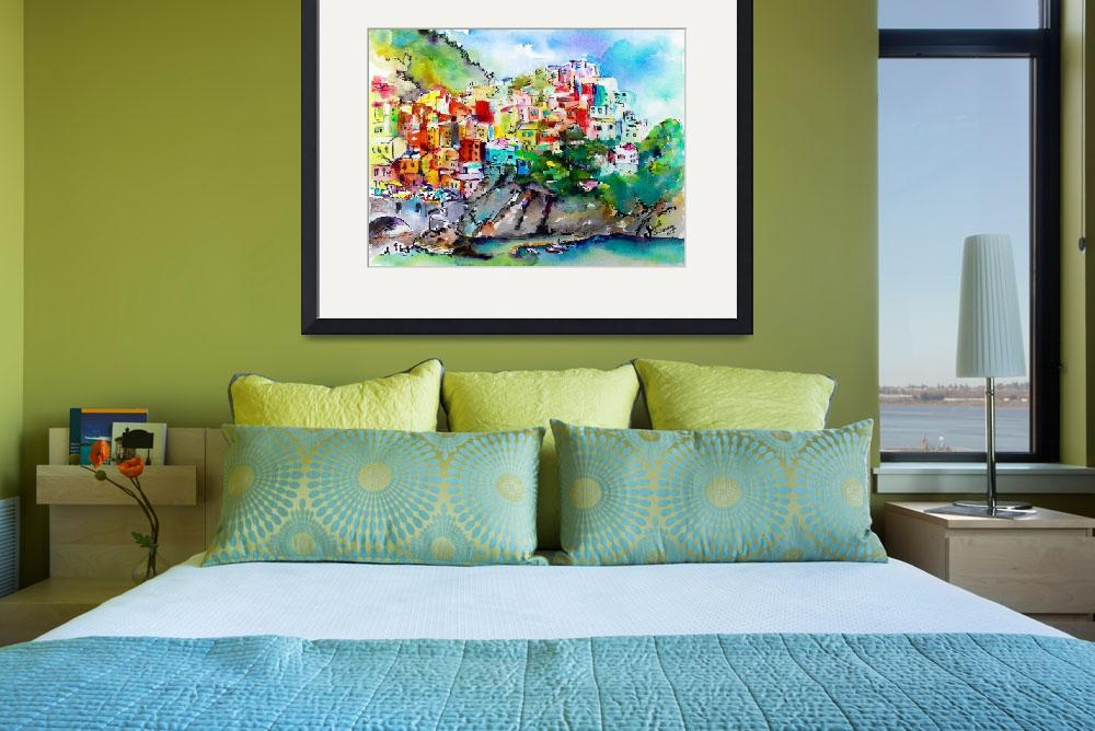 """Manarola Cinque Terre Colorful Watercolor&quot  (2015) by GinetteCallaway"