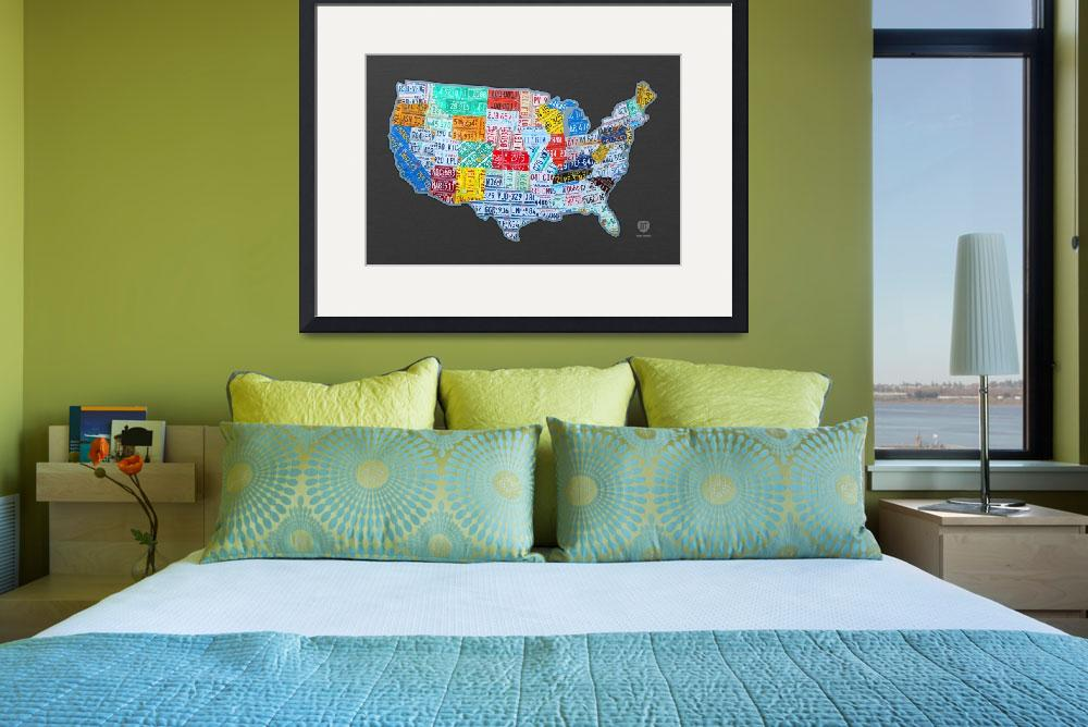 """massive_usa_license_plate_map_on_gray&quot  (2013) by designturnpike"