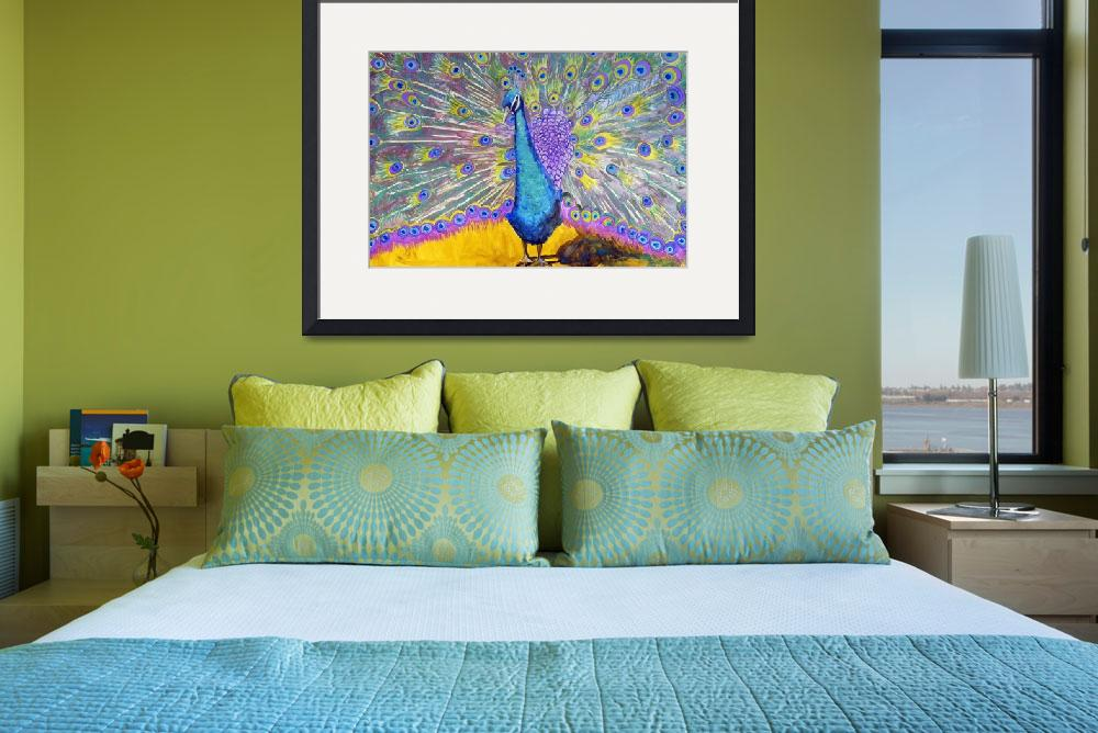 """Peacock Dance, Purple Green Blue Peacock Decor&quot  (2012) by schulmanart"