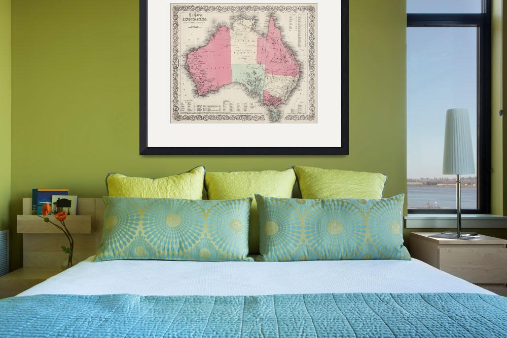"""Vintage Map of Australia (1865)&quot  by Alleycatshirts"