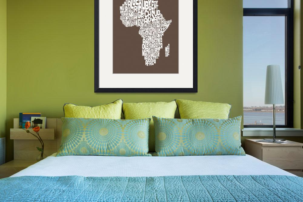 """Map of Africa Map Text Art&quot  (2012) by ModernArtPrints"