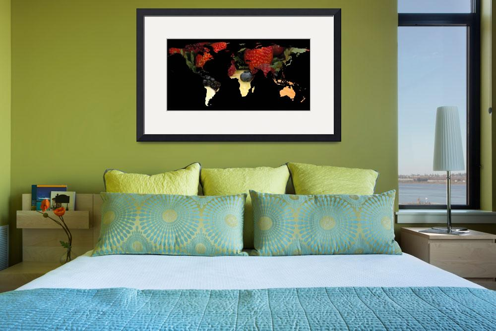 """World Map Silhouette - Mixed Fruit&quot  by Alleycatshirts"