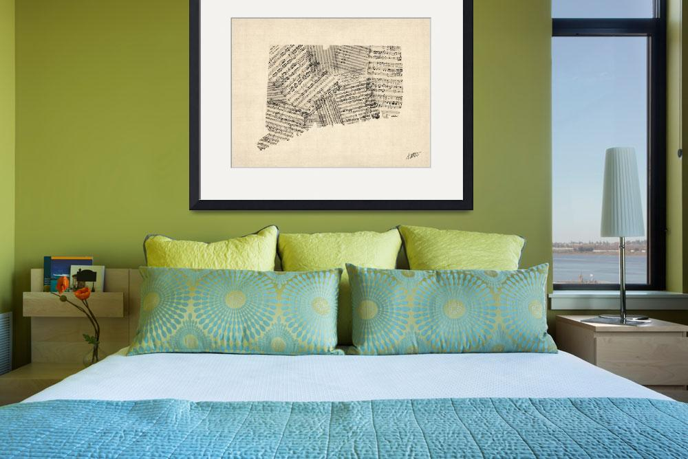 """Connecticut Old Sheet Music Map Signed&quot  (2015) by ModernArtPrints"