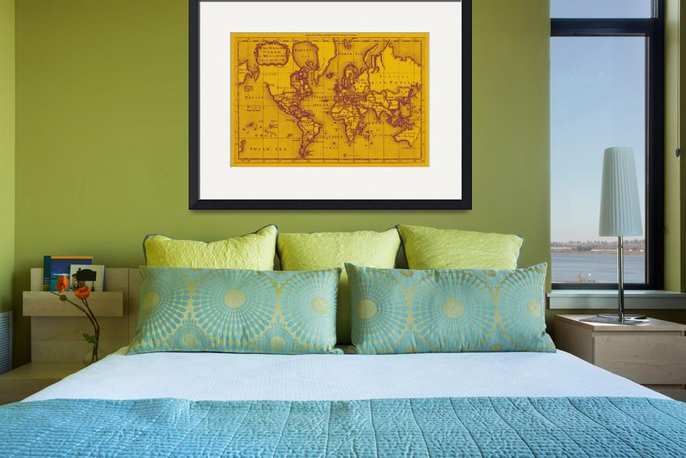 """World Map (1766) Yellow & Purple&quot  by Alleycatshirts"