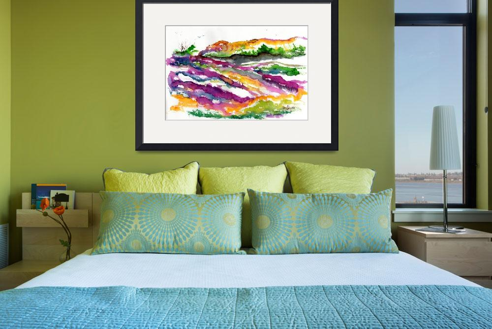"""Abstract Landscape Lavender Fields Watercolor&quot  (2016) by GinetteCallaway"