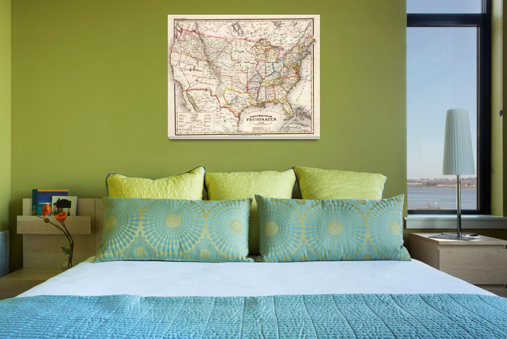 """Vintage Foreign United States Map (1845)&quot  by Alleycatshirts"