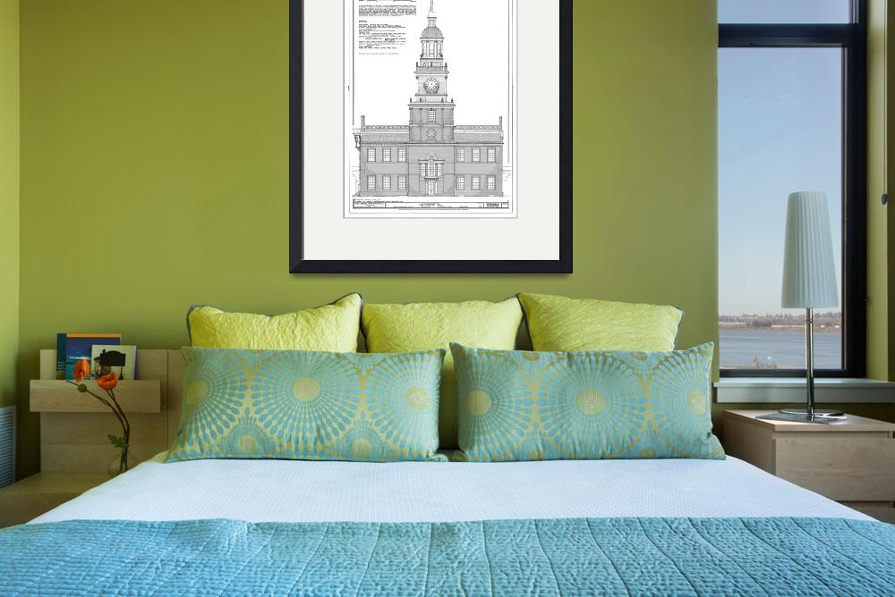 """Independence Hall Blueprint Schematics&quot  by Alleycatshirts"
