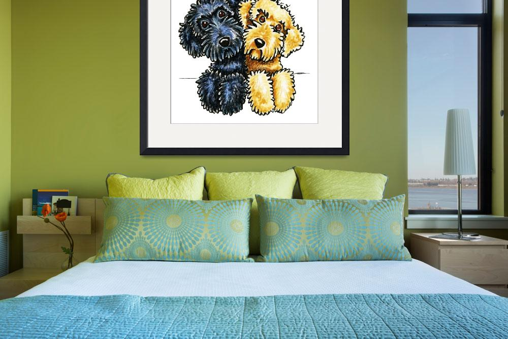 """Labradoodles Black Yellow Lined Up&quot  (2015) by OffLeashArt"