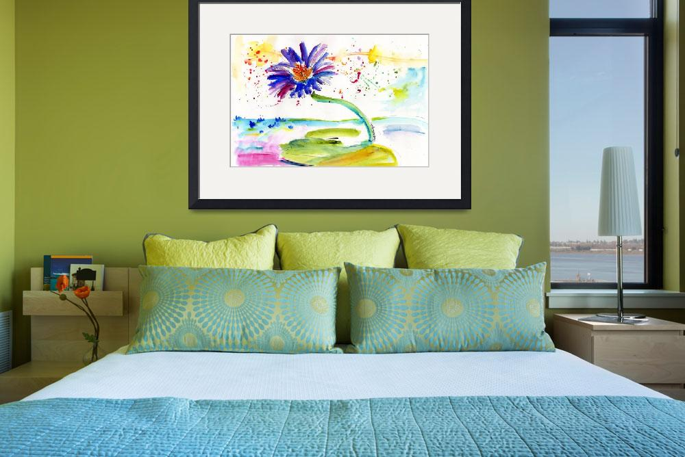 """Blue Lotus Flower Watercolor by Ginette&quot  (2012) by GinetteCallaway"