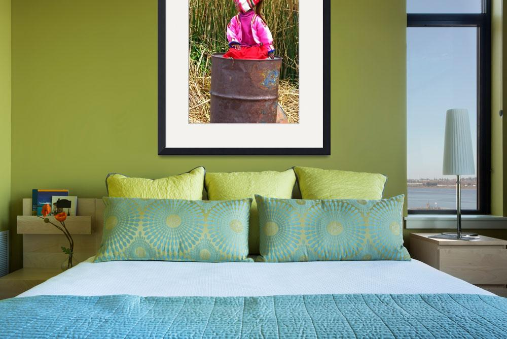 """girl on a trashcan at Titicaca lake&quot  (2010) by Maly"