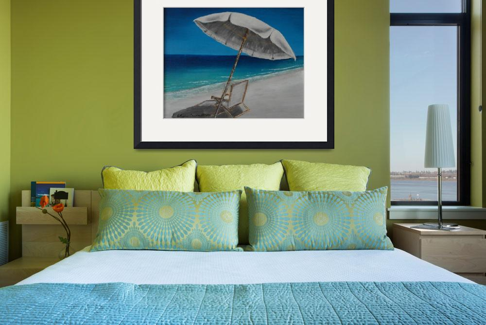 """White Umbrella and Lounger&quot  (2014) by waynecantrell"