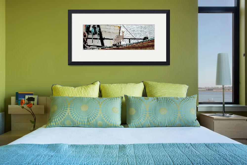 """Pelican and fishing boat&quot  (2015) by classyphotoart"