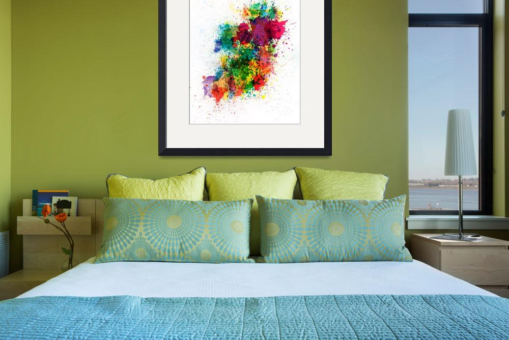 """Ireland Map Paint Splashes&quot  (2012) by ModernArtPrints"