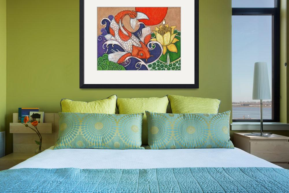 """Leaping Koi&quot  (2010) by LynnetteShelley"