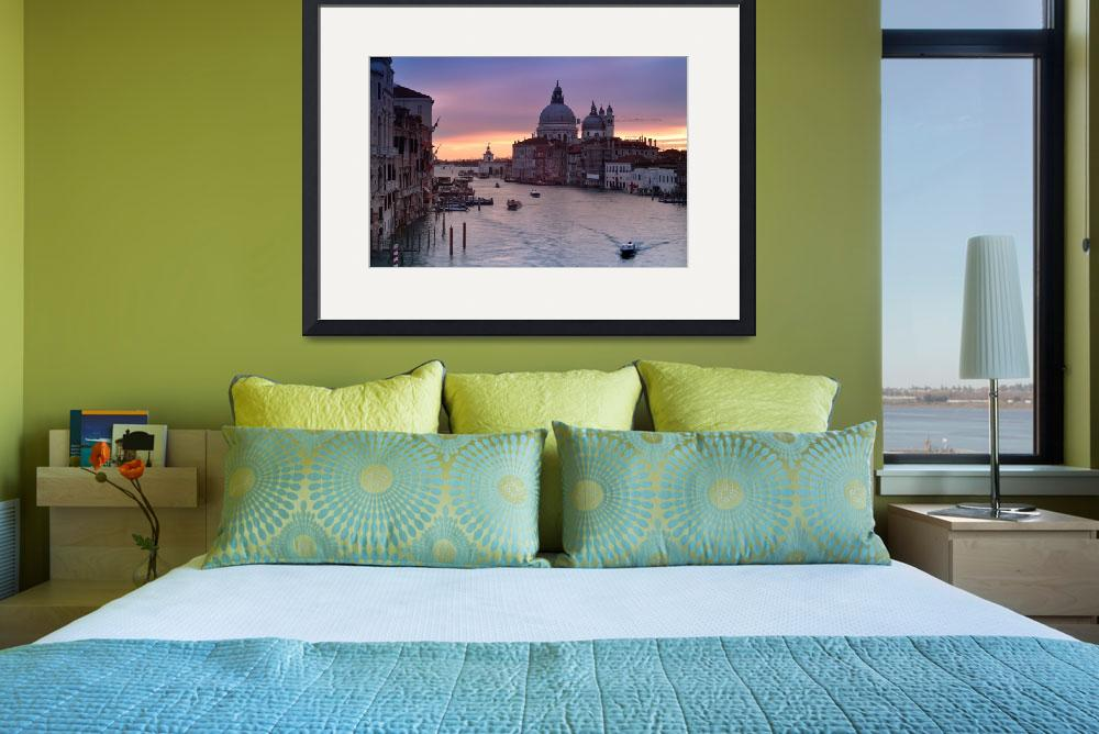 """Canal Grande in Venice at sunrise with riding boat&quot  (2013) by emporoslight"