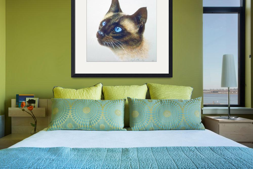 """Siamese Pet Cat with Blue Eyes Head Study&quot  by ArtLoversOnline"