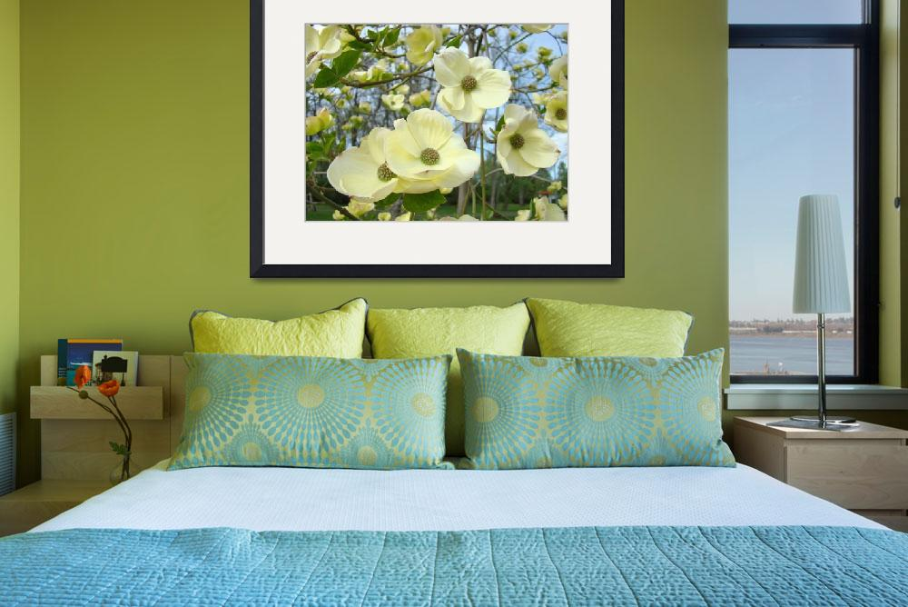 """Dogwood Flowers Trees Yellow White Floral&quot  (2010) by BasleeTroutman"