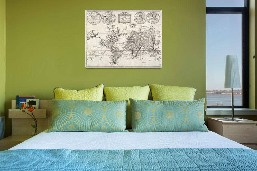 """Vintage Map of The World (1786)&quot  by Alleycatshirts"