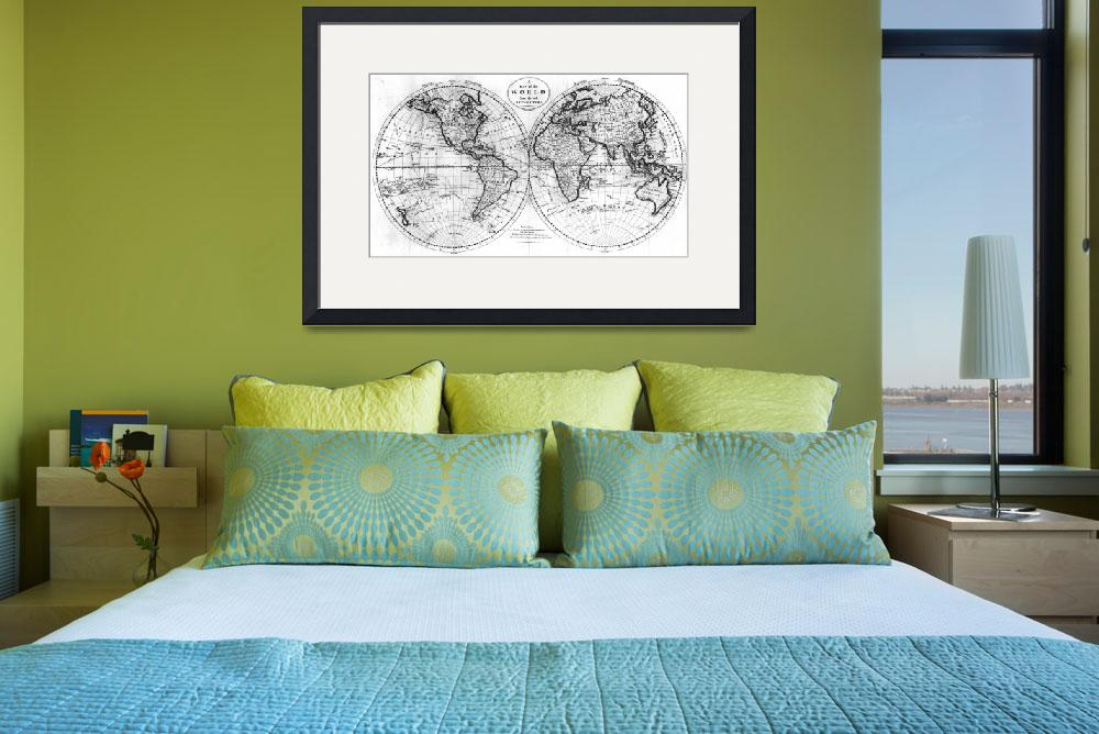 """Black and White World Map (1795)&quot  by Alleycatshirts"
