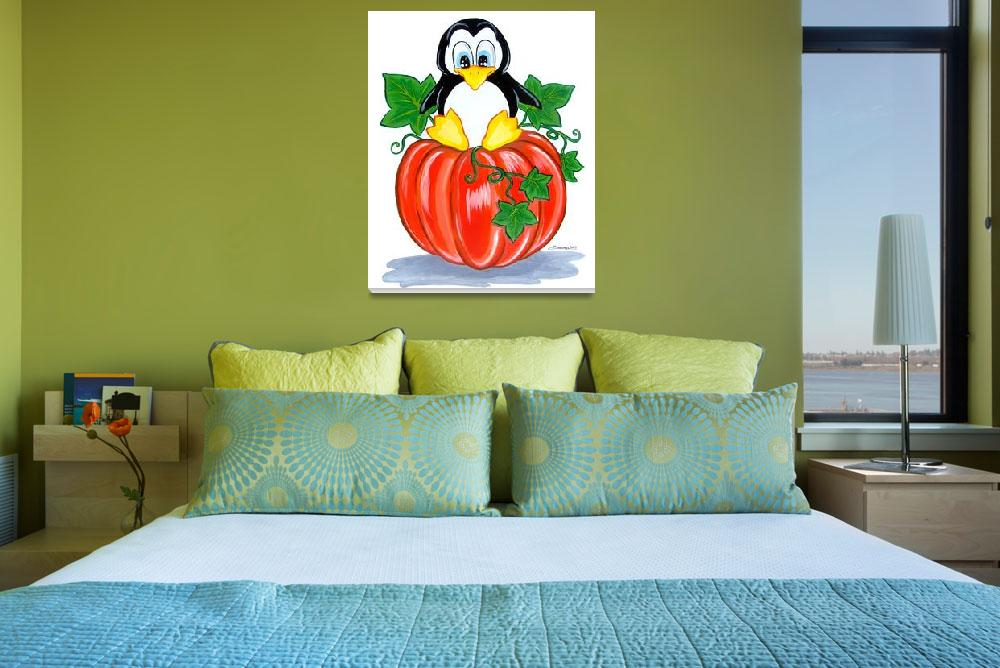"""Penguin on a Pumpkin&quot  (2010) by BarbaraPelizzoli"