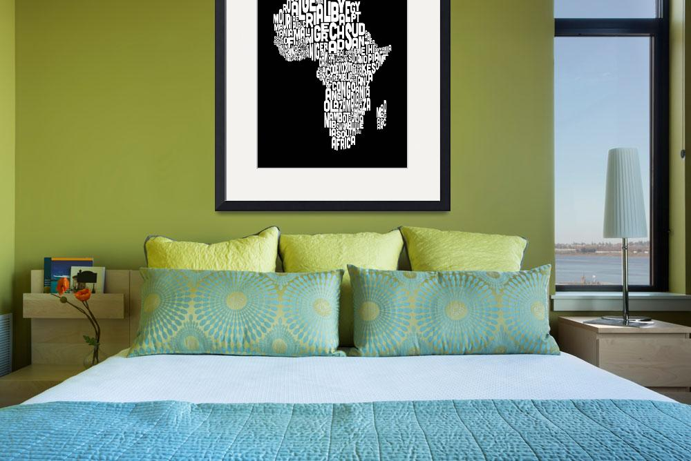 """Typography Text Map of Africa Map&quot  (2012) by ModernArtPrints"