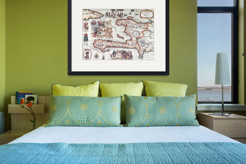 """Map of the Island of Haiti&quot  by fineartmasters"