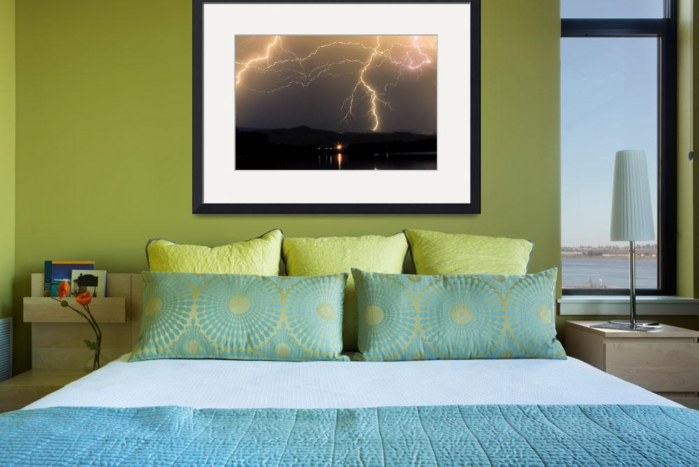 """Rocky Mountains Foothills Lake  Lightning Storm&quot  (2009) by lightningman"