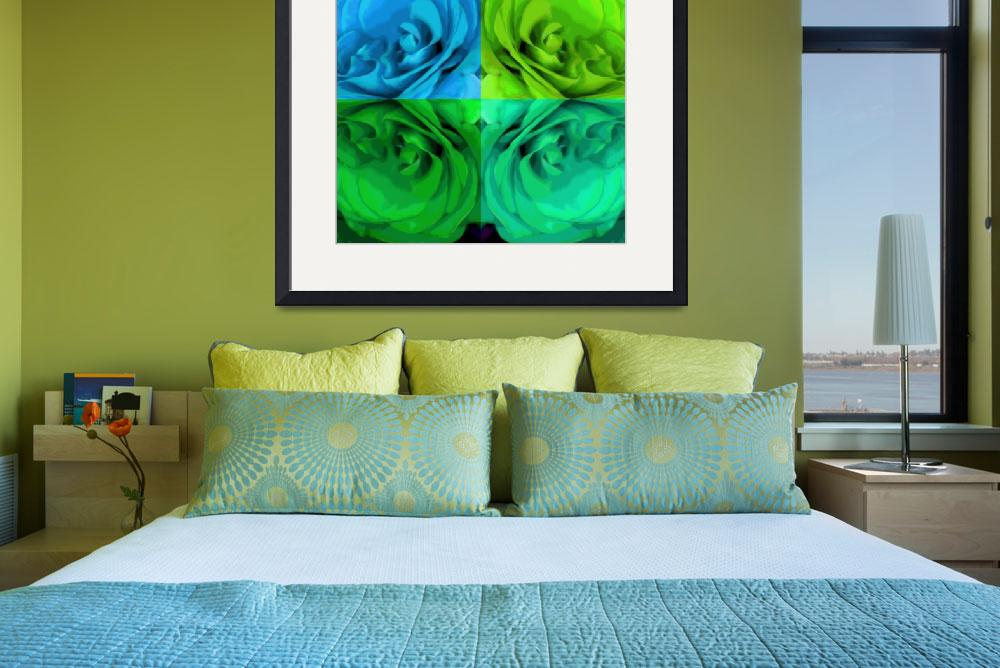 """Majid 4x4 Roses blue green center rotated&quot  (2009) by LeslieTillmann"