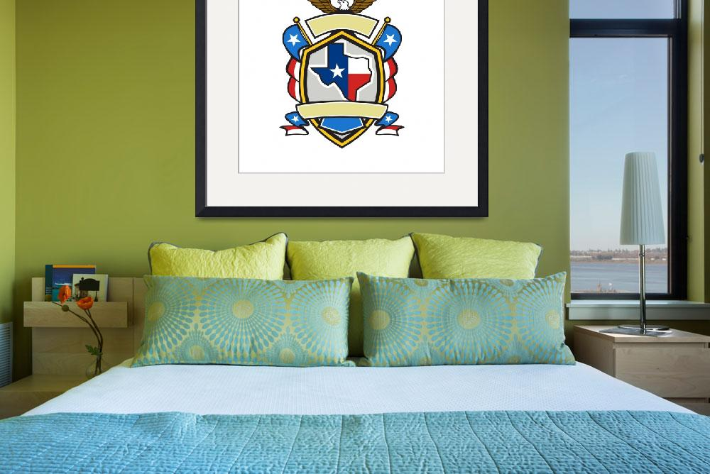 """Texas State Map Flag Coat of Arms Retro&quot  (2016) by patrimonio"