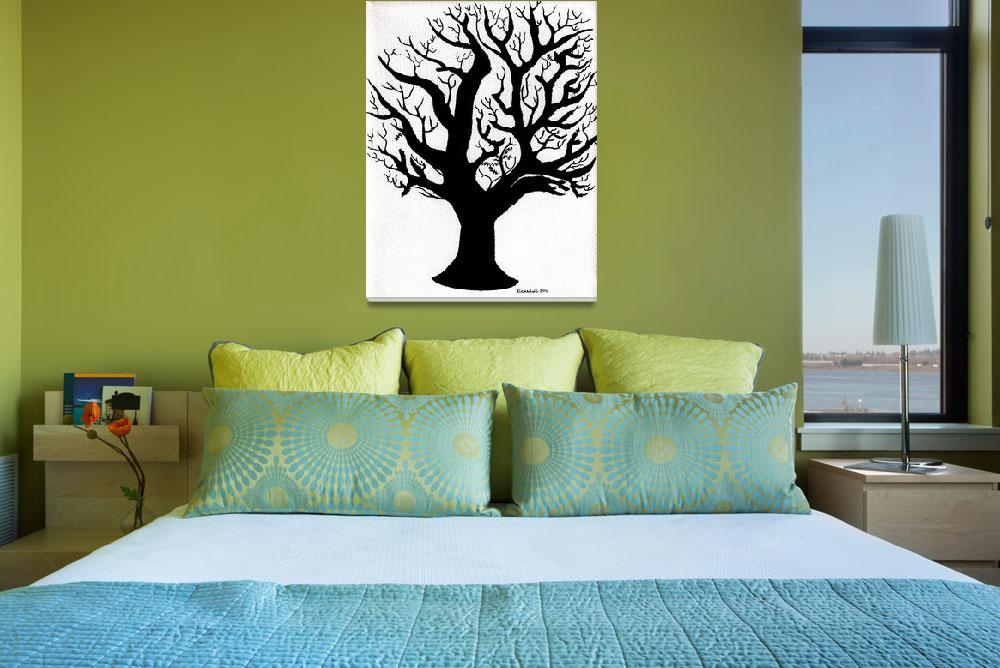 """Zen Sumi Tree of Life Enhanced Black Ink on Canvas&quot  (2011) by Ricardos"