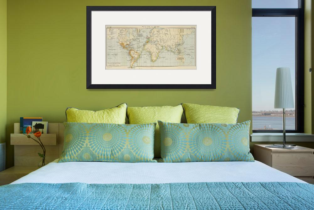 """Vintage Map of The World (1911) 2&quot  by Alleycatshirts"