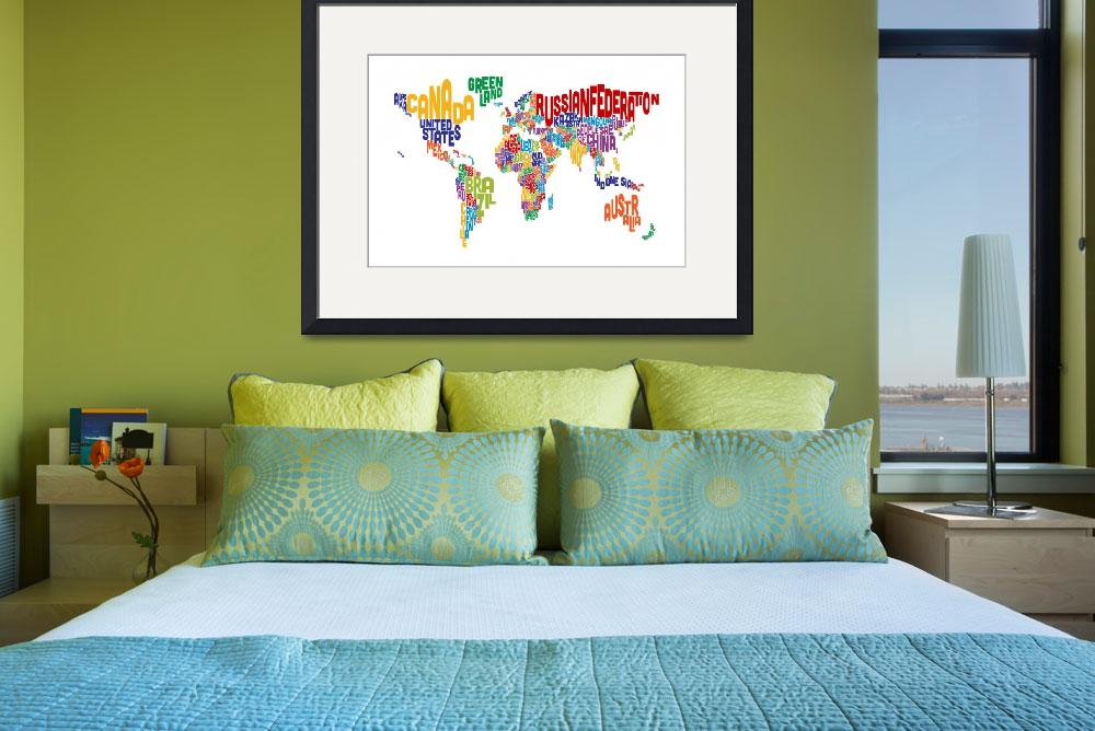 """Text Map of the World&quot  (2014) by ModernArtPrints"